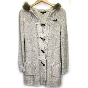 Banana Republic Faux Fur Hooded Duster Sweater S